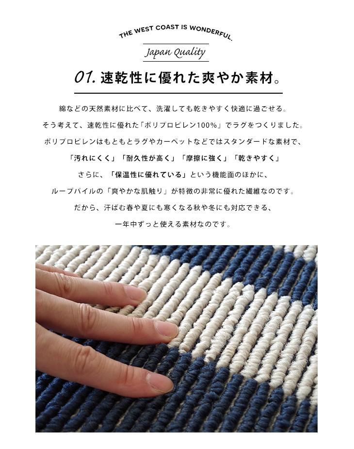 安心の日本製 ラグ ラグマット ラグ ブルーノ(185×185cm)