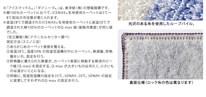 ※「アイスマックス R 」「ダイニーマ R 」は、東洋紡(株)の登録商標です。※綿100%カーペットに比べて、ICEMAX R 生地使用カーペットは5℃〜8℃相当の冷涼感が感じられます。※室温28℃で調温されたICEMAXR生地使用カーペットと室温20℃で調温された綿100%のカーペットのQ-max 値(接触冷感度)が同じ値でした。(住江織物(株)テクニカルセンター調べ)測定方法(スミノエ法)あらかじめカーペット表面を整える。室温28℃、湿度50% の恒温恒湿機の中にカーペット、熱源盤、貯熱  盤をいれ、測定を行う。貯熱盤に蓄えられた熱量が、カーペット表面に移動する熱流のピーク値(Q-max)を測定する。Q-max が大きいものは冷たく、小さいものは温かいことになる。同様に、恒温恒湿機の設定を25℃、50%RH、20℃、50%RH の設定に変更してそれぞれのQ-max の測定を行う。